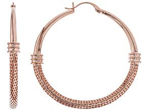 Copper Textured Hoop Earrings