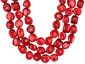 Red Sea Bamboo Coral Silver Multi-Strand Adjustable Necklace