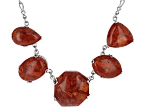 Red Sponge Coral Sterling Silver Necklace 20 inch