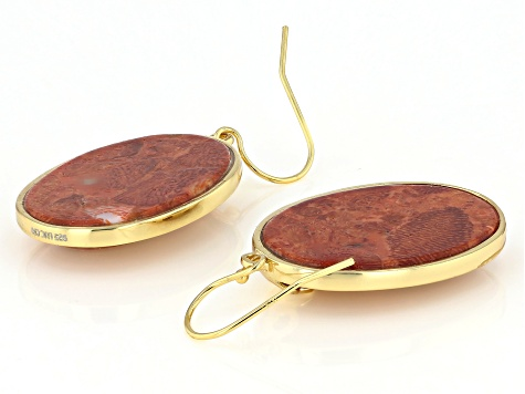Sponge Coral 18k Gold Over Sterling Silver Dangle Earring