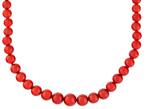 Natural Red Sardinian Coral 14k Yellow Gold Strand Necklace 22 inch