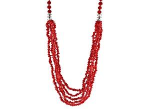 Red Coral, Diamond Simulant Silver Multi-Strand Necklace