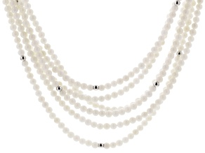 White Coral Silver Multi-Strand Necklace 32 inch