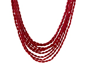 Red Coral Sterling Silver Multi-Strand Necklace 18 inch