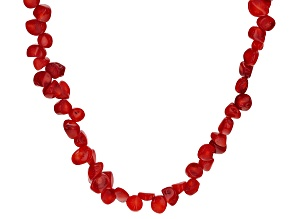 Freeform Red Coral Endless Strand Necklace 60 inch