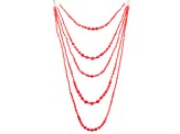 Pink Coral Rhodium Over Sterling Silver Multi-Strand Necklace 18 inch
