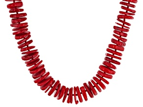Red Coral Sterling Silver Necklace 38 inch