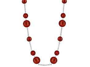 Red Sponge Coral Sterling Silver Station Necklace 36 inch