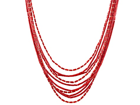 Red Coral 18k Yellow Gold Over Sterling Silver Multi-Strand Necklace