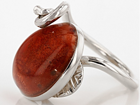 Red Sponge Coral Sterling Silver Ring