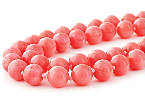 Pink Salmon Coral Bead Necklace.