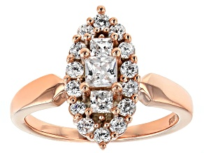 Cubic Zirconia Sterling 18k Rose Gold Over Silver Ring 1.71ctw (.91ctw DEW)