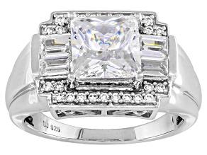 Cubic Zirconia Silver Gents Ring 5.70ctw
