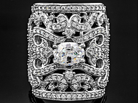 Cubic Zirconia Rhodium Over Sterling Silver Ring 4.40ctw