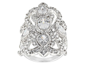 Cubic Zirconia Rhodium Over Sterling Silver Ring 6.50ctw (3.80ctw DEW)