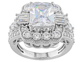 Cubic Zirconia Silver Ring 9.08ctw (5.47ctw DEW)