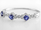 Blue And White Cubic Zirconia Silver Bracelet 12.76ctw