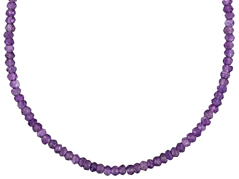 Womens Faceted Bead Necklace Purple Amethyst 60ctw Sterling Silver