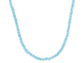 Womens Faceted Bead Necklace Blue Topaz 50ctw Round Sterling Silver