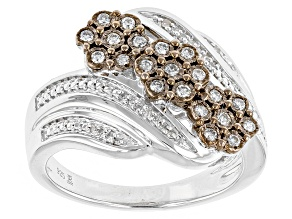 Champagne And White Diamond Silver Ring .25ctw