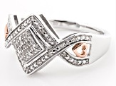 Rhodium And 14k Rose Gold Over Sterling Silver Diamond Ring .10ctw