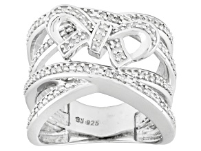 Diamond Sterling Silver Bow Ring .25ctw