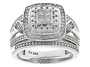 Rhodium Over Sterling Silver Diamond Ring .25ctw