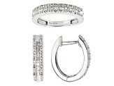 White Diamond Rhodium Over Sterling Silver Jewelry Set .50ctw
