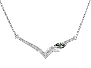 Green And White Diamond Rhodium Over Sterling Silver Necklace .20ctw
