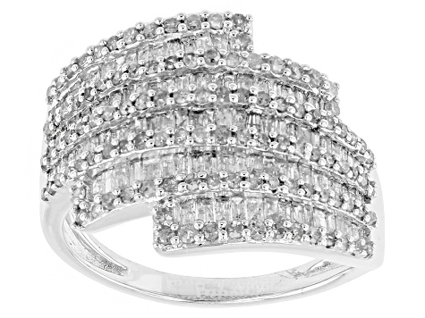 Rhodium Over Sterling Silver Diamond Ring 1.40ctw