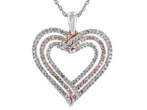Rhodium And 14k Rose Gold Over Sterling Silver Diamond Pendant .50ctw