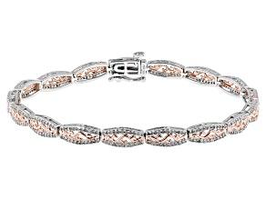 Rhodium And 14k Rose Gold Over Sterling Silver Diamond Bracelet 1.00ctw