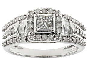 Rhodium Over Sterling Silver Diamond Ring .64ctw