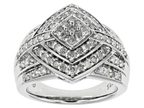 Rhodium Over Sterling Silver Diamond Ring 1.01ctw