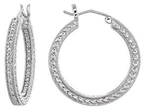 Diamond Silver Earrings .10ctw