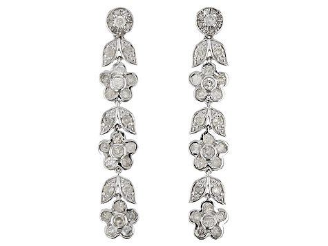 Diamond Silver Earrings 1.21ctw