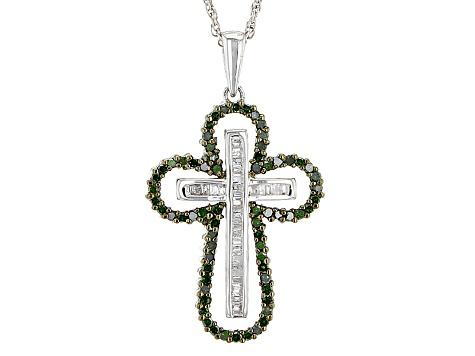 fa9f57008d3217 Green And White Diamond Sterling Silver Pendant .70ctw - CSD105   JTV.com