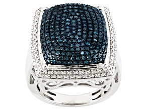Blue Diamond Rhodium Over Sterling Silver Ring .75ctw