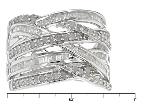 Diamond Rhodium Over Sterling Silve Ring 1.00ctw