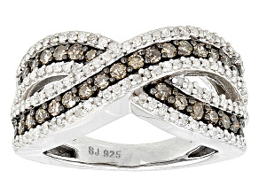 Champagne And White Diamond Silver Ring .75ctw