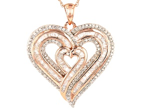 14k Rose Gold Over Silver Pendant .95ctw