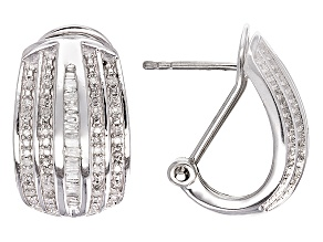Diamond Silver Earrings .50ctw
