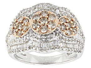 14k Rose Gold And Rhodium Champagne And White Diamond Ring 1.75ctw