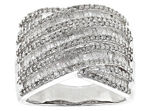 Rhodium Over Sterling Silver Diamond Ring 1.25ctw