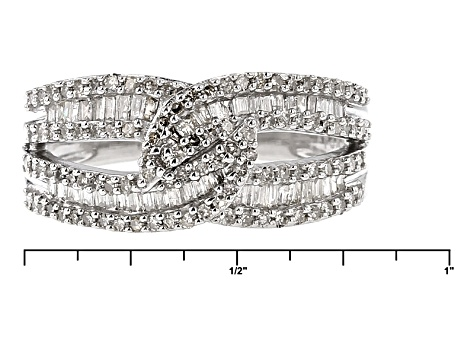 Rhodium Over Sterling Silver Diamond Ring .75ctw