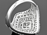 Rhodium Over Sterling Silver Champagne And White Diamond Ring 1.38ctw