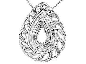 White Diamond Rhodium Over Sterling Silver Interchangeable Pendant With 18