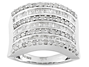 Rhodium Over Sterling Silver Diamond Ring 1.50ctw