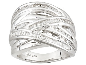 Rhodium Over Sterling Silver Diamond Ring .60ctw