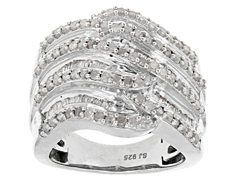 Rhodium Over Sterling Silver Diamond Ring 1.60ctw